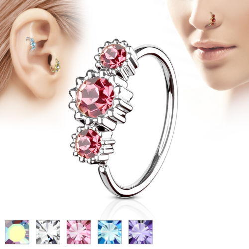 1pc Three CZ Gem Hoop Nose / Cartilage Ring