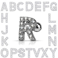 1pc Gem Paved Initial Letter Tragus Ring