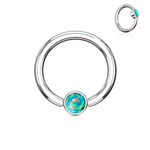 1pc Opal Set Flat-Back Captive Bead Ring