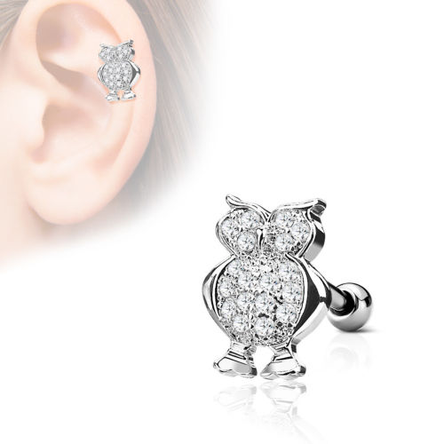 1pc CZ Gem Paved Owl Tragus Ring 16g 1/4""