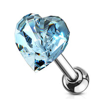 1pc Heart Crystal Tragus Ring 16g 1/4""