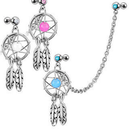 1pc Chain Linked Dream Catcher Gemmed Tragus Ring