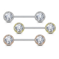 PAIR Paved CZ Gems w/ Large Gem Center Nipple Rings Sheilds