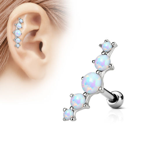 1pc Prong Set 5 Opals Tragus Ring 16g 1/4""