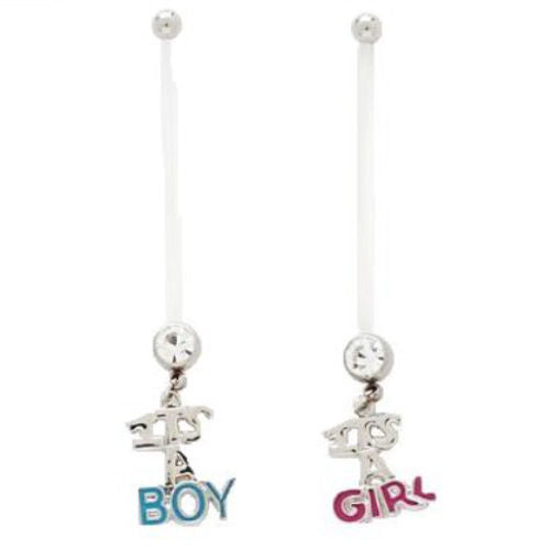 1pc Birth Announcement Pregnancy Belly Rings - It's A Boy / It's A Girl