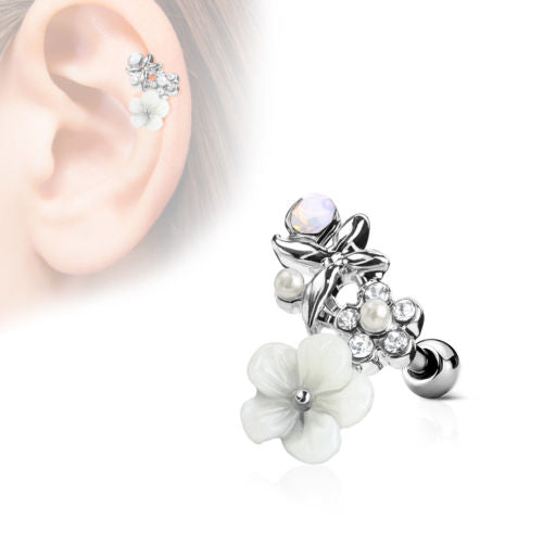 1pc Flower, Pearl, Opalite Gem Curve Tragus Ring 16g 1/4""