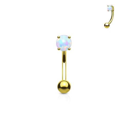 1pc Prong Set 3mm Opal 16g Curved Barbell Eyebrow Ring
