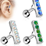 1pc Five Opal Bar Tragus Ring 16g 1/4""