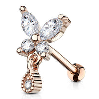1pc CZ Gem Butterfly w/ Tear Drop Tragus Ring 16g 1/4""