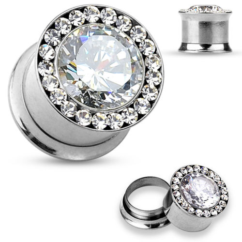 PAIR Large Gem w/Gem Rim Internally Threaded Tunnels Plugs