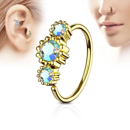 1pc Gold Three CZ Gem Hoop Nose / Cartilage Ring