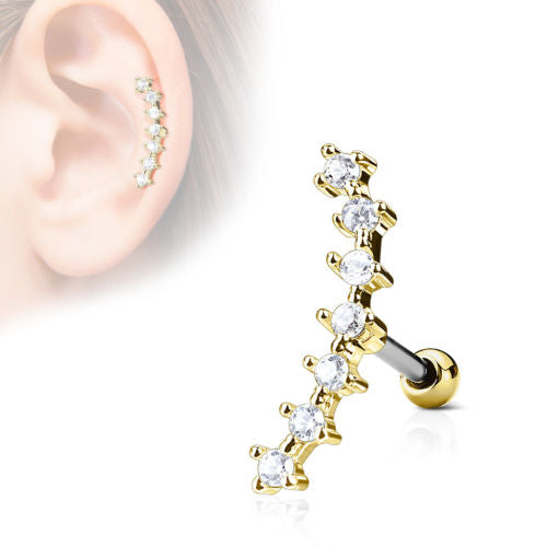 1pc Lined CZ Gem Curve Tragus Ring 16g 1/4""