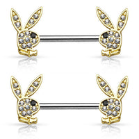 PAIR Crystal Paved Playboy Bunny Nipple Shields Rings