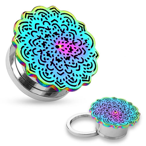 PAIR Rainbow Tribal Flower Screw Fit Tunnels Plugs