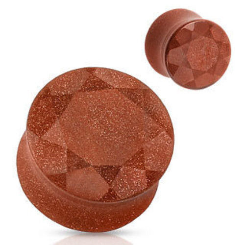 PAIR Faceted Gold Sandstone Stone Plugs