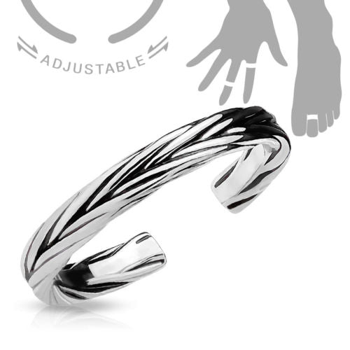Braided Design Adjustable Mid Ring / Toe Ring
