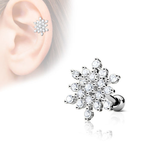 1pc CZ Gem Paved Snowflake Tragus Ring 16g 1/4""