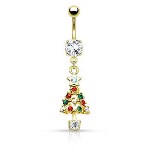 1pc Christmas Holiday Style Dangle Belly Ring - Silver or Gold