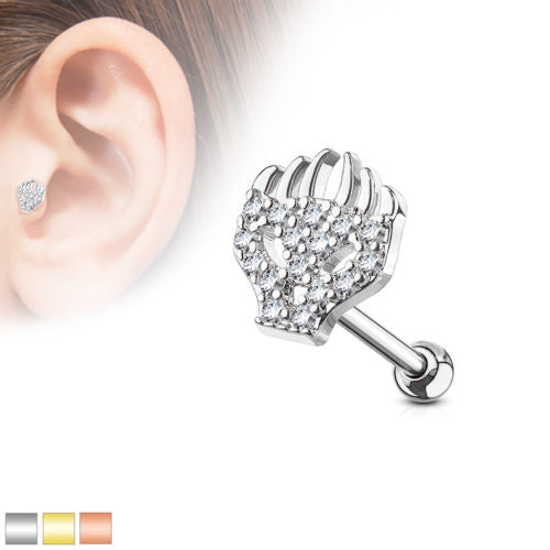 """1pc CZ Gem Paved Heart w// Wings Tragus Helix Cartilage Barbell Ring 16g 1//4/"""""""