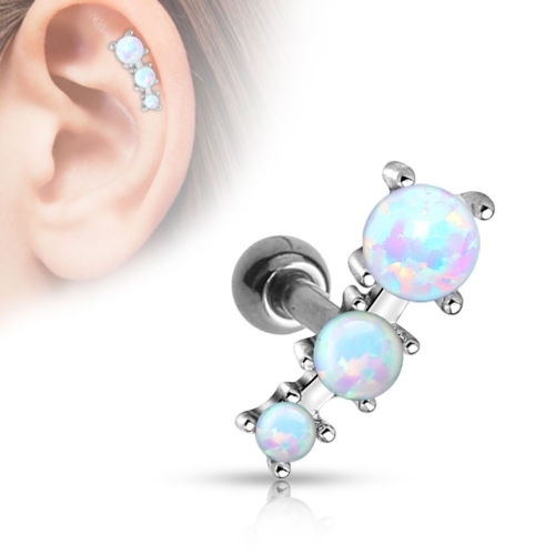 1pc Prong Set 3 Opals Tragus Ring 16g 1/4""