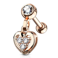 1pc CZ Gem Heart Dangle Tragus Ring 16g 1/4""