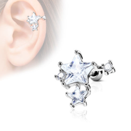 1pc CZ Gem Star Cluster Tragus Ring 16g 1/4""