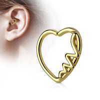 1pc Heartbeat Heart Bendable Cartilage Daith Hoop Ring