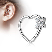 1pc CZ Gem Flower Bendable Heart Cartilage Daith Hoop Ring