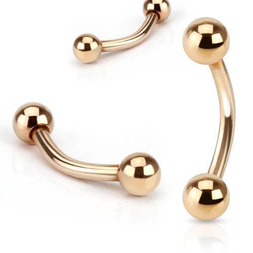 1pc Rose Gold Plated Ball Style Curved Barbell Eyebrow Ring