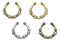 1pc 100% SURGICAL STEEL Non-Piercing Septum Hanger 4 Crystal Gems