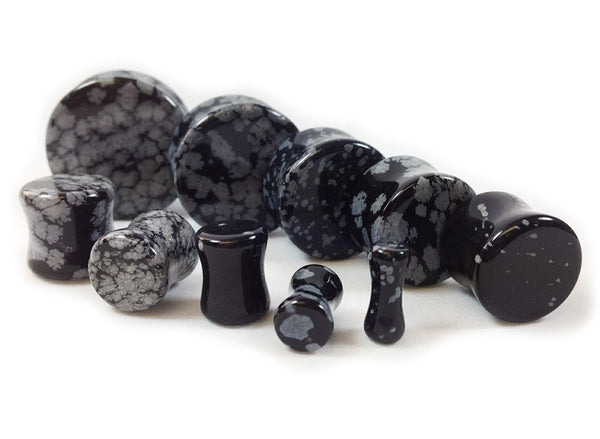 Stone Plugs Snowflake Obsidian Organic - by the pair