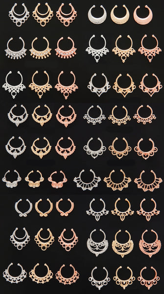 41pcs Tribal Fan Non-Piercing Septum Hangers
