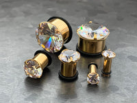 PAIR Gold PVD Steel Single Flare Tunnels Prong Set CZ Gem Plugs Earlets Gauges