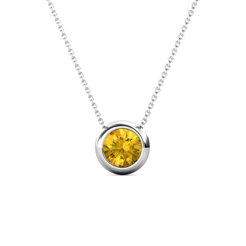 Destiny Moon November/Citrine Birthstone Necklace with Swarovski Crystals
