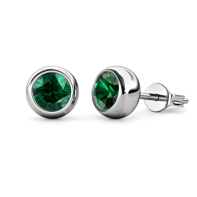 Destiny Moon May/Emerald Birthstone Earrings with Swarovski Crystals in a Macaroon case