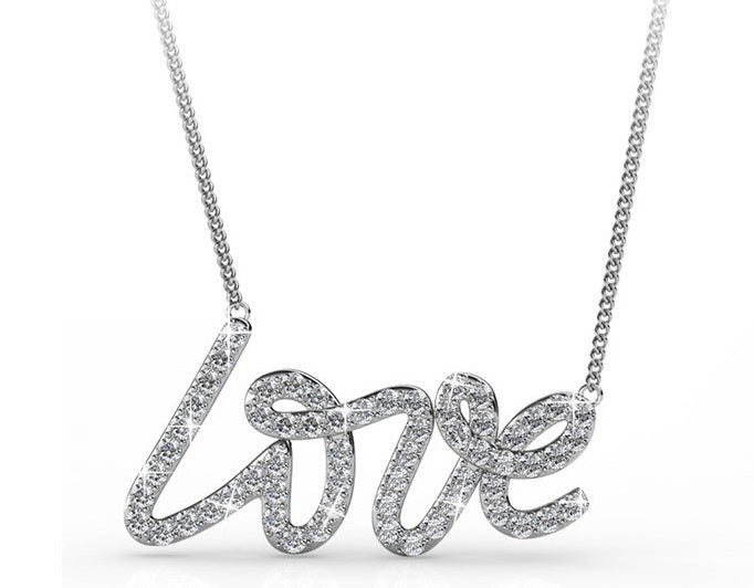 Destiny Jewellery LOVE Necklace embellished with Swarovski Crystals