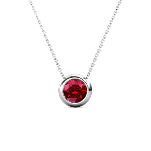 Destiny Moon January/Garnet Birthstone Necklace with Swarovski Crystals