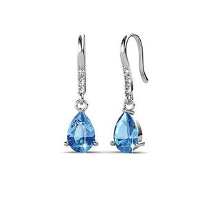 Destiny Swarovski Element Anne Aquamarine Drop Earring - Silver