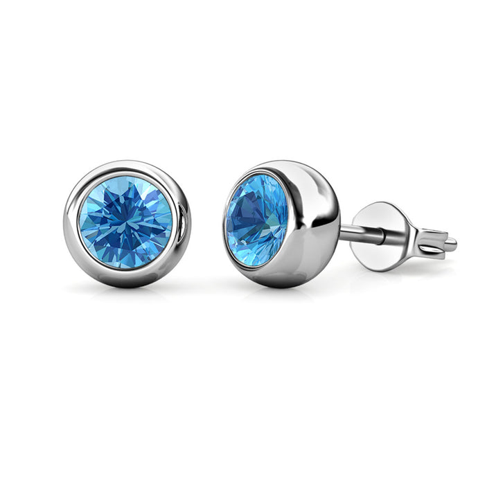Destiny Moon December/Blue Topaz Birthstone Earrings with Swarovski Crystals in a Macaroon case