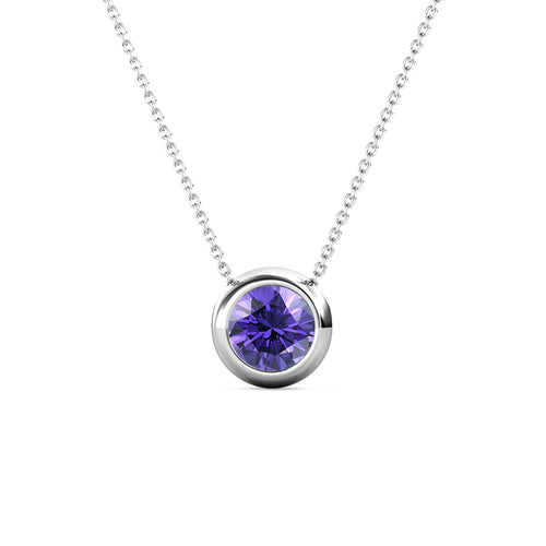 Destiny Moon February/Amethyst Birthstone Necklace with Swarovski Crystals