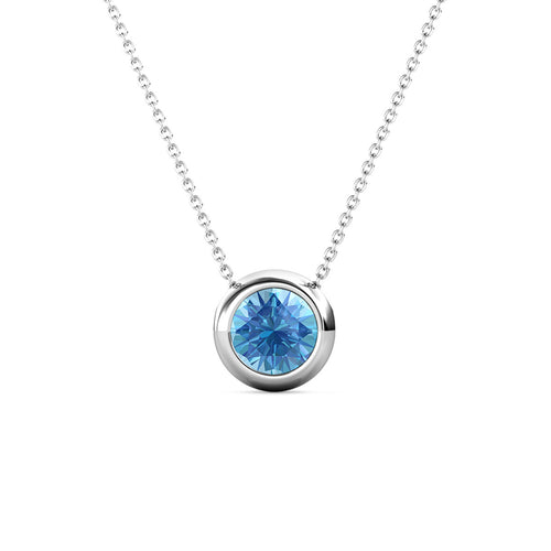 Destiny Moon March/Aquamarine Birthstone Necklace with Swarovski Crystals