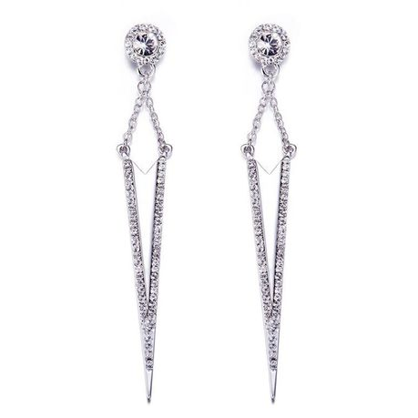 CDE Modern Drop Earrings with Swarovski Crystals - Silver