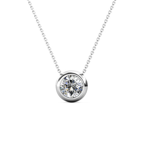 Destiny Moon April/Diamond Birthstone Necklace with Swarovski Crystals