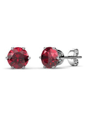 Destiny Birthstone January/Garnet Earrings with Swarovski Crystals in a Macaroon case