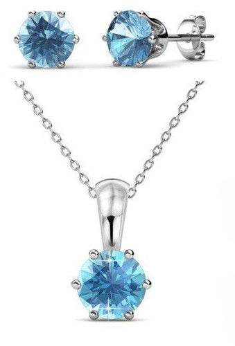Destiny March Birth Set with Swarovski Crystals in 925 Sterling Silver