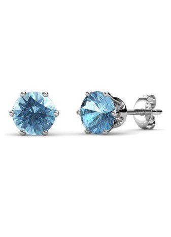 Destiny Birthstone March/Aquamarine Earrings with Swarovski Crystals in a Macaroon case