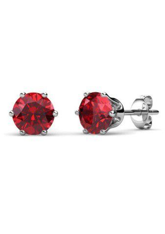 Destiny Birthstone July/Ruby Earrings with Swarovski Crystals in a Macaroon case