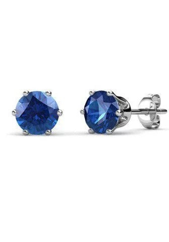 Destiny Birthstone September/Sapphire Earrings with Swarovski Crystals in a Macaroon case