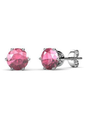 Destiny Birthstone October/Pink Tourmaline Earrings with Swarovski Crystals in a Macaroon case