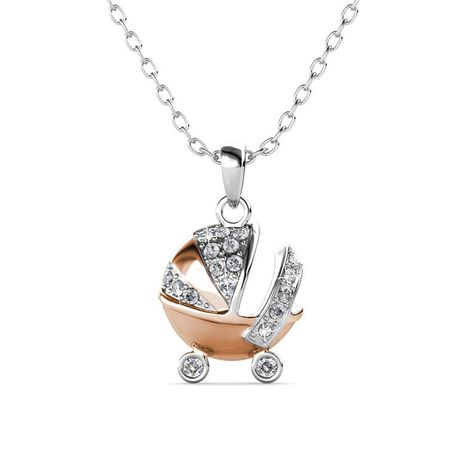 Destiny 925 Sterling Silver Pram Necklace with Swarovski Crystals